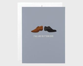 Male Same Sex Wedding Shoes | Same Sex Funny Wedding Card | Same Sex Funny Engagement Card