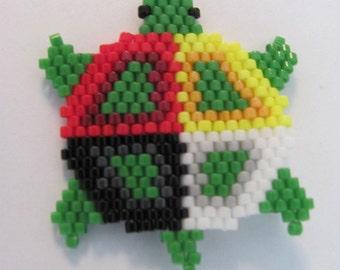 Hand Beaded Medicine Wheel turtle dangling earrings