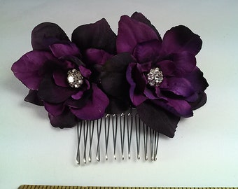 Ready to Ship Plum Hair Flowers-Wedding Hair Flowers-Silk Wedding Flowers-Purple Hair Flowers-Bridal Flowers
