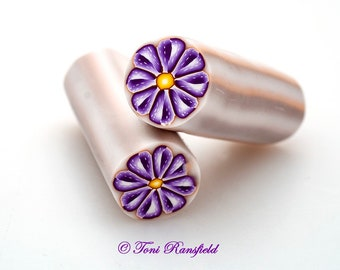Purple Spotted Flower Polymer Clay Cane, Raw polymer Clay Cane, Millefiori Polymer Clay