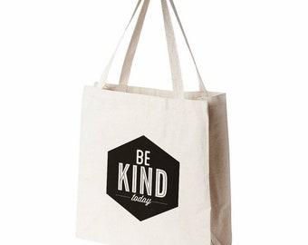Canvas Tote Bag, Be Kind, White Tote Bag, Market Tote Bag, Canvas Bag, Reusable Bag, Gift For Mom, Book Tote Bag, Summer Bag
