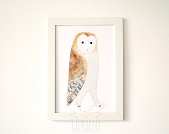 Barn owl poster A4 Barn owl print Barn owl painting Barn owl art Barn owl watercolor Barn owl nursery Owl art Kids room Owl illustration