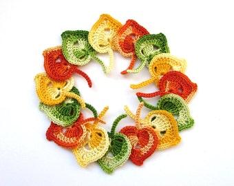 Crochet leaves, Set of 15, Aspen leaves, Crochet Appliques, Decorative motifs, Embellishments accessories