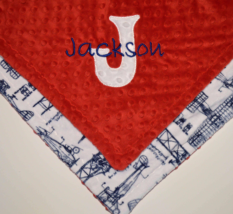 Minky Lovey Baby Blanket 14 Inch Woobie Navy Blue Vintage