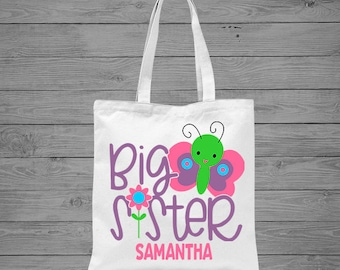 Big Sister Butterfly Personalized Tote Bag | Big Sister Gift | Sibling Gift | Girls Butterfly Bag | Sibling Announcement Gift | Canvas Tote