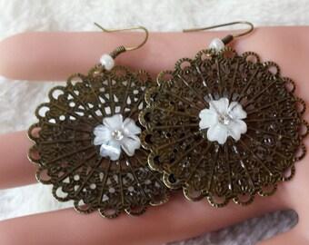 White Flower Antique Bronze Filigree Earrings