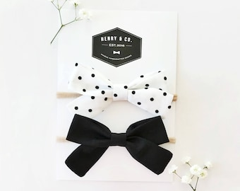 """Classic Black and White """"Charlotte"""" Bow Set"""