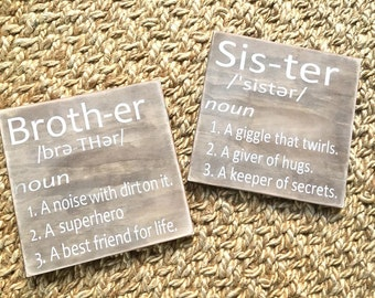 Brother Definition,Sister Definition,Kids Decor,Kids room,Nursery,Siblings,Rustic decor,Nursery Wall Decor,Brother Wall Art,Sister wall art