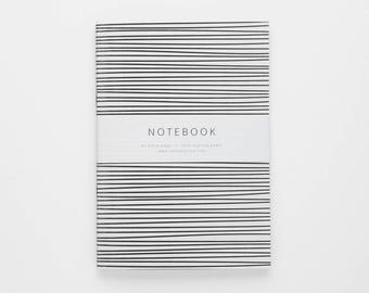 THE LEANNE notebook / blank notebook / black stripes