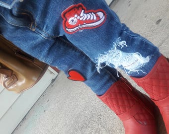 Custom Distressed Patched Jeans