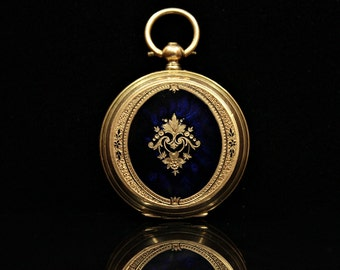 Antique original perfect 14k gold enamel pocket watch