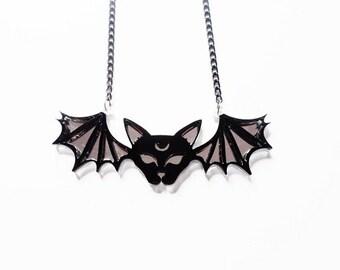 Bat cat necklace