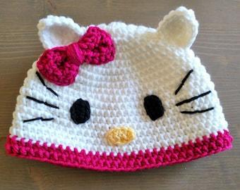 Hello Kitty Hat - Handmade to Order - Newborn to Adult