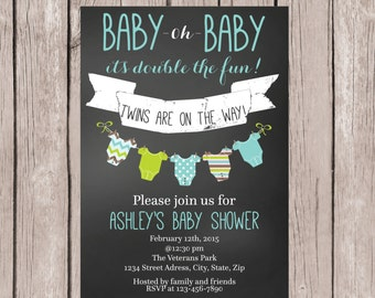 PRINTABLE- Twin Boys Baby Shower invite- Chalkboard Baby Shower Invite- Baby Shower Invite- Twins Baby Shower Invite- 5x7 JPG