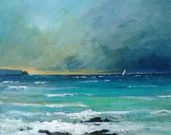 Giclee print, original cornish seascape, coastal art, Gerrans Bay, seaside, beaches. Made in Cornwall