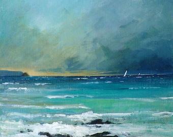 Giclee print, original cornish seascape, coastal art, Gerrans Bay, seaside, beaches. Made in Cornwall