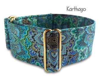 "teal dog collar, turquoise blue, gold, brass hardware, custom, martingale or buckle collar; 1""- 2"" wide; XS- XL, greyhound collar, Karthago"