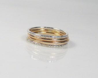 Thin stacking ring set of 4, Dainty ring set, Elegant rings, Mixed metal ring, Boho ring set