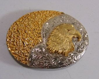 Vintage Collectible Etched Eagle Belt Buckle by Wilmarth