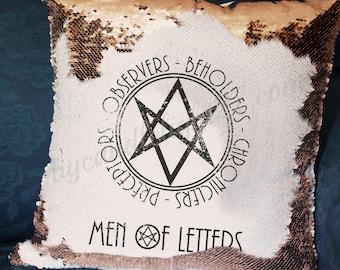 Men Of Letters, BMOL, British Men of Letters, Supernatural, SPN family, Supernatuaral Gift, Hand Crafted, Hidden Message, Mermaid Cushion