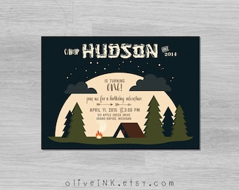 Woodland camping first birthday party invitation