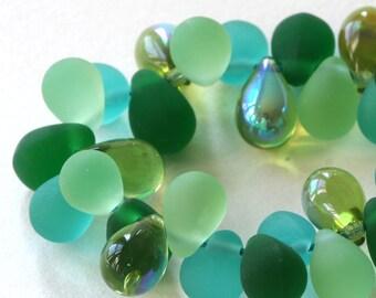 8x6mm Czech Glass Teardrop Mix - Jewelry Making Supplies - 6x8mm 4 colors (40 Pieces) Lagoon Mix