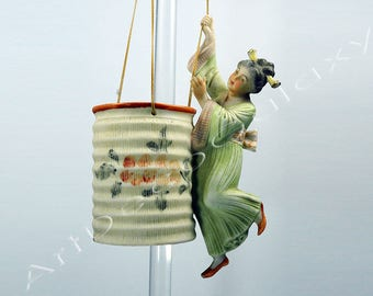 Antique German Bisque Japanese Girl on Swing