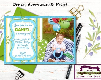 One Year Old Birthday, 1st Birthday, First Birthday, Toddler Birthday Party Invitation - Personalized Printable File