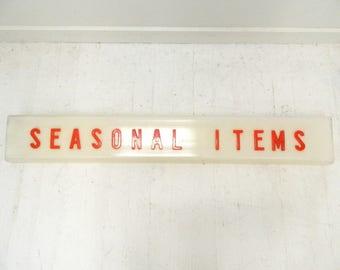 Vintage  1960s Sign ... Seasonal Items  ... Store Sign ...Large Sign ... Red and White ... Store Display