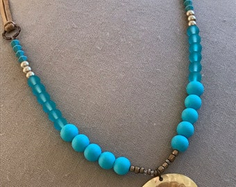 "34"" Tan leather necklace with turquoise glass beads & shell pendant"