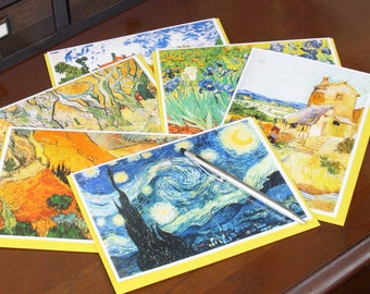 Frameable 5x7 Greeting Card Set with Vincent Van Gogh artwork (6 Card Set with colored envelopes)