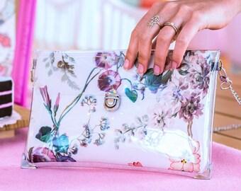 Clutch Bag, Floral Clutch Purse, Handbag, Bridesmaid clutch, Crossbody Purse, Evening bag, designer bag, Vegan Handmade Clutch with strap