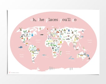 Printable kids green world map poster 11x14 in 20x16in printable kids pink world map poster 11x14 in 20x16 in 24x36 in nursery gumiabroncs Gallery