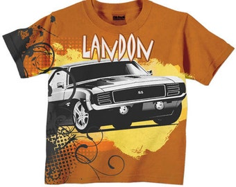 Orange Car  Boys TShirt, Personalized Childrens Clothing