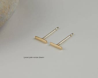 Tiny Gold Studs Gold Bar Earrings Tiny Bar Earrings 14K Gold Line Earrings Dainty Earrings Minimalist Earrings