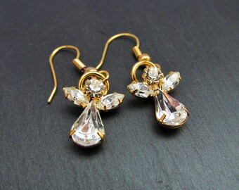 Guardian Angel Earrings, Vintage Earrings, Angel Earrings, Swarovski Earrings, Fairy Earrings, Spiritual Earrings, Gift For Her