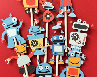 Robots cupcake toppers, robot birthday party toppers, robots party, robots cake topper, robots