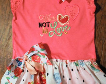 Baby girl Coral color summer dress,Beach dress,Valentine's Day dress,Heart dress with flutter sleeves,Coral bodysuit with attached skirt
