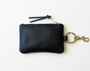 Keychain Coin Purse, Leather Keychain Wallet, Keychain Credit Card Wallet, Keychain ID Wallet, Metro Card Keychain Pouch, Keychain Zip Pouch