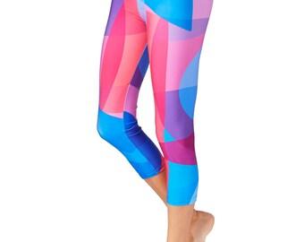 Capri Yoga Leggings /  Pink Leggings / Blue Leggings / Capri Leggings /  Yoga Pants / Blue and Pink Yoga Leggings / Colorful Yoga Pants