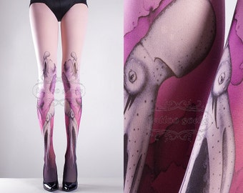 Pink Octopuses Closed Toe one size full length printed tights pantyhose tattoo socks tattoo tights