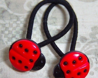 Ladybug ponytail holders / hair elastic / ouchless rubberbands / hair ties / hair pretties / gift for girl / toddler gift / stocking stuffer