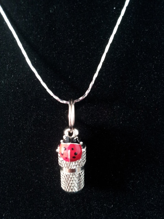 "Mini Ladybug CREMATION URN & Vial on 18"" Necklace - Custom Hand Assembled....  Includes Velvet Pouch and Fill Kit"