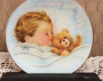 Avon Plate Sleeping Baby with Teddy Bear
