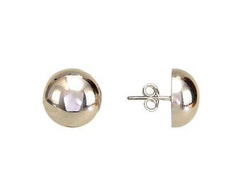 Sterling silver ball studs earrings, 12 mm stud, dome earrings, round earrings, half inch studs, dot earrings, button stud, half ball stud