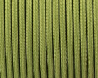 Vintage 3 Core Army Green 0.75mm Flexible Cable - Braided Round Fabric Lighting Cord