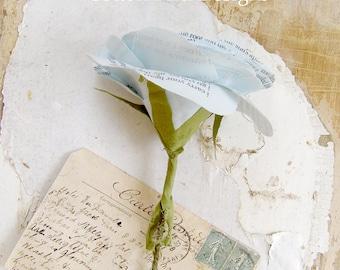 COTTON 2nd Wedding Anniversary Pale Blue Poem Flower Gift by Cotton Bird Designs