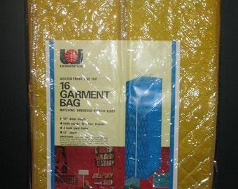 Vintage Garment Bag - Closet Storage Bag -  Universal Garment Bag- Gold Dress Bag- 1970- NOS