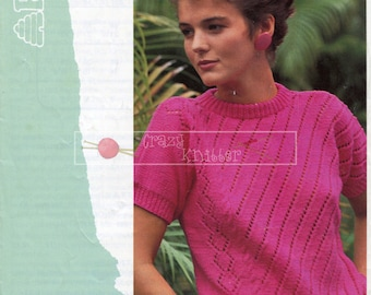 Lady Short Sleeved Top DK 30-40ins incl Teen Sizes Patons 7884 Vintage Knitting Pattern PDF instant download