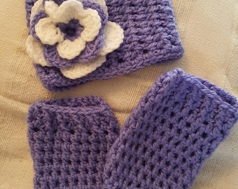 Crochet Baby Hat And Legwarmers Sets      Size 0- 3 Months Old
